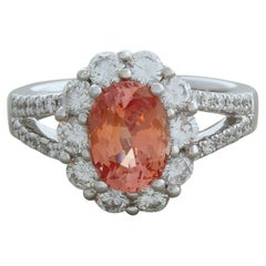 Padparadscha Sapphire Diamond Gold Ring, GIA Certified