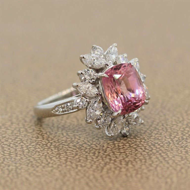 Padparadscha Sapphire Diamond Platinum Ring, GIA Certified In New Condition For Sale In Beverly Hills, CA