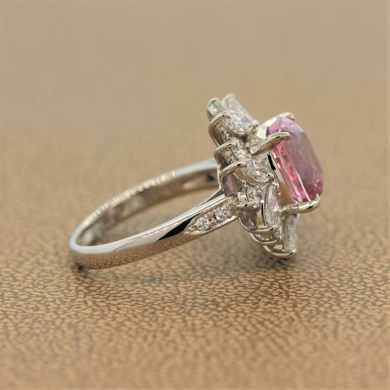Women's Padparadscha Sapphire Diamond Platinum Ring, GIA Certified For Sale