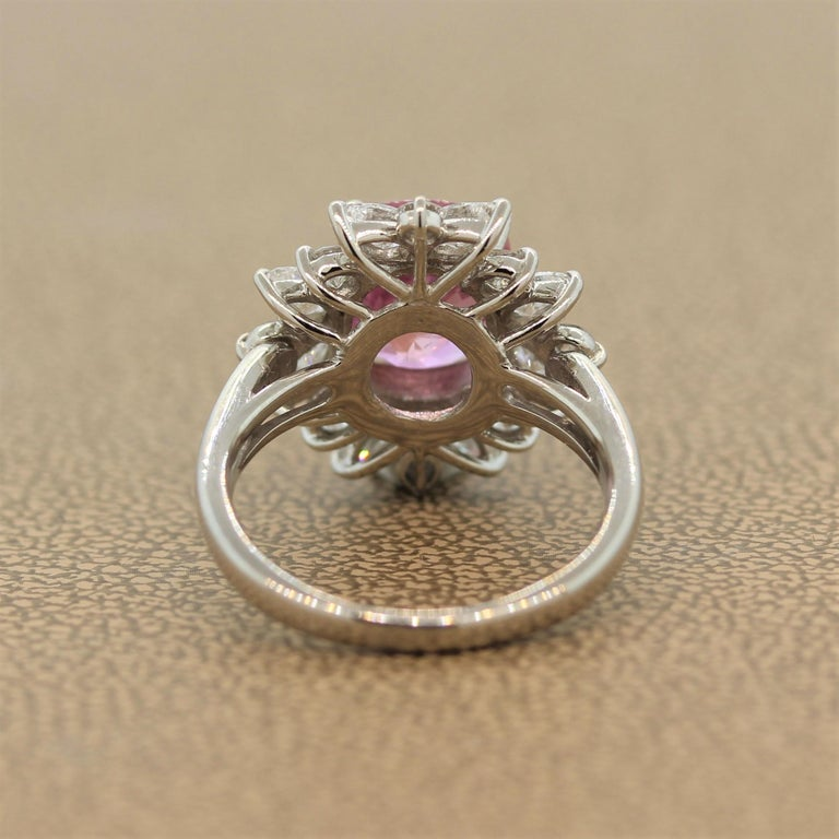 Padparadscha Sapphire Diamond Platinum Ring, GIA Certified For Sale 1