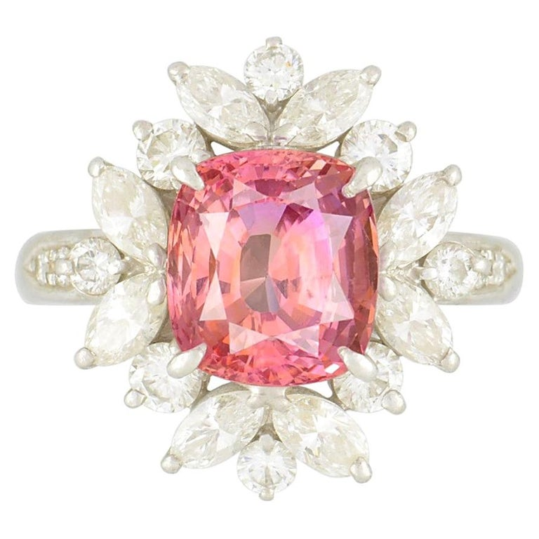 Padparadscha Sapphire Diamond Platinum Ring, GIA Certified For Sale