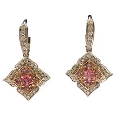 Padparadscha Sapphire Pink and White Diamonds Earrings Set in 14 Karat Gold