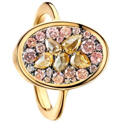 Padparadscha Sapphire Pink Diamond Rose-Cut Diamond Mosaic Pave Ring