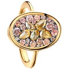 Padparadscha Sapphire Pink Diamond Rose-Cut Diamond Mosaic Pave Ring