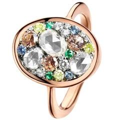 Padparadscha Sapphire Rose-Cut Diamond Emerald Sapphire Diamond Ring