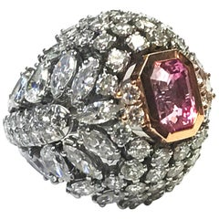 Goshwara Padparscha And Diamond Ring