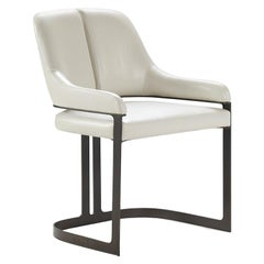 Padus Dining Chair with Bronze Patina Finish, Contemporary, Art Deco Inspired