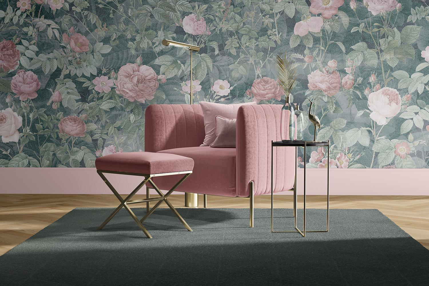 Paeonia - Custom Mural Wallpaper (green and pink)