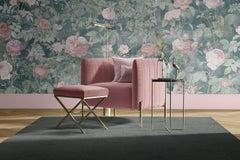 Paeonia - Custom Mural Wallpaper (green and pink)