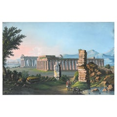 Paestum, Gouache, Early 19th Century, Original Walnut Frame, Grand Tour