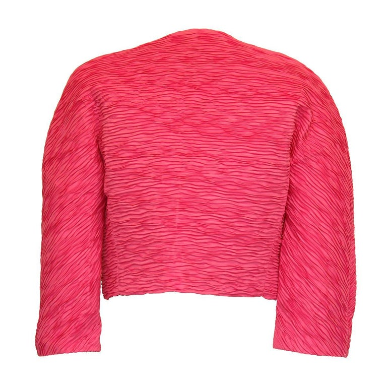 Very chic bolero by Pagano Porto Cervo, Italy Vintage Mixed textile Fuchsia color No closures Length from shoulder cm 42 (16.5 inches) Shoulders cm 42 (16.5 inches)  100% cotton Made in France  Fast international shipping included in the price