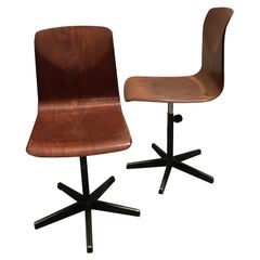 Pagholz Pair of Metal and Bent Plywood German Industrial Chairs, 1970s