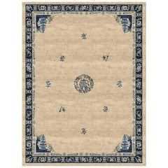 Pagoda Antique Sand Hand-Knotted Wool and Silk 2.7 x 3.6m Rug