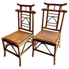 Pagoda-Backed Side Chairs Attributed to Ficks Reed , Set of 4
