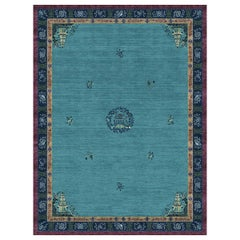 Pagoda Blue Fade Hand-Knotted Wool and Silk 2.7 x 3.6m Rug
