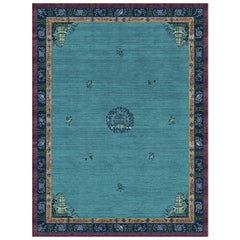 Pagoda Blue Fade - Beautiful Traditional Hand Knotted Wool Silk Rug