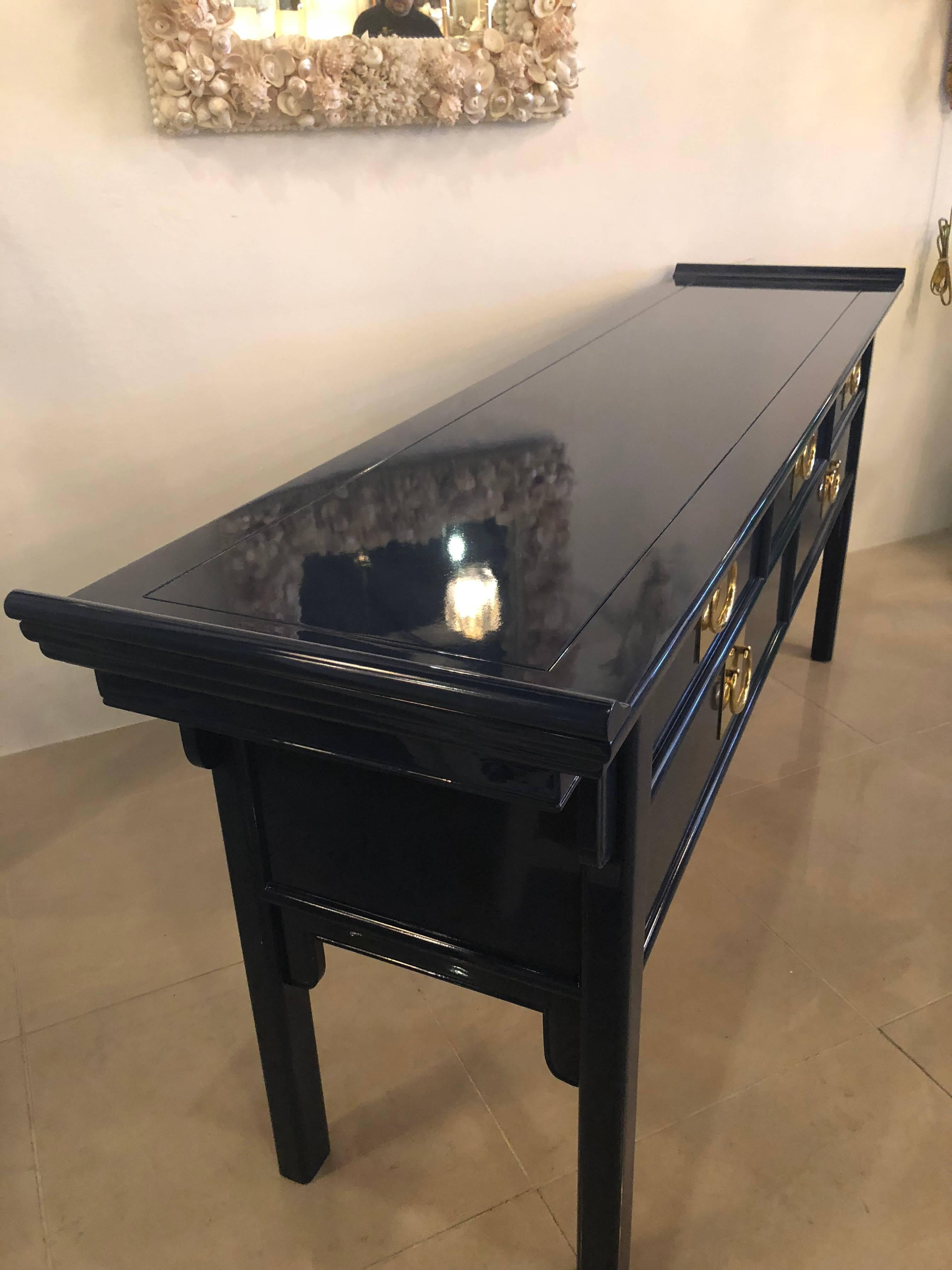 Paa Console Table By Century Newly Lacquered Navy Blue Brass Pulls At 1stdibs