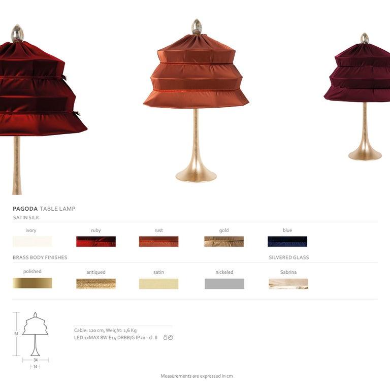"""Pagoda"" Contemporary Table Lamp, Blue China Satin Silk Satin Brass For Sale 10"