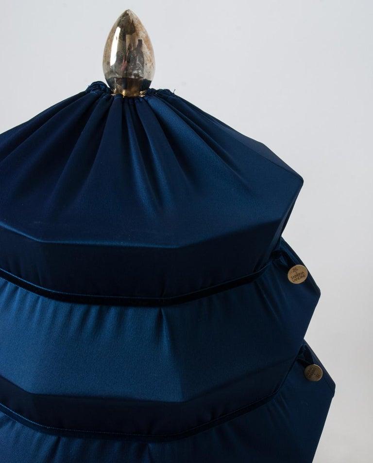"Modern ""Pagoda"" Contemporary Table Lamp, Blue China Satin Silk Satin Brass For Sale"