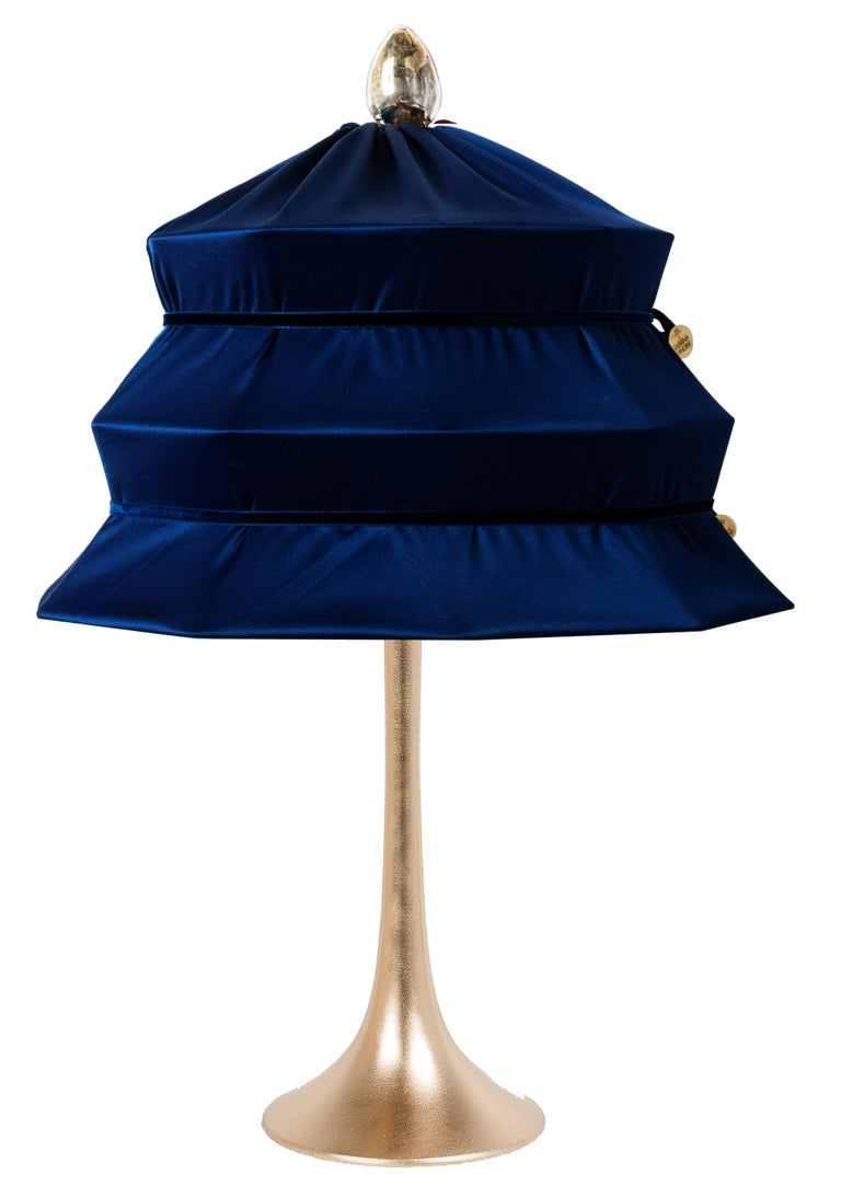 """Silvered """"Pagoda"""" Contemporary Table Lamp, Blue China Satin Silk Satin Brass For Sale"""