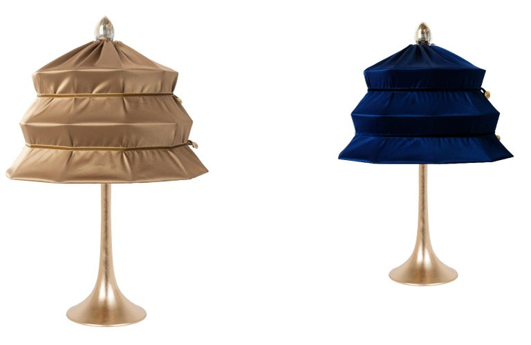 """""""Pagoda"""" Contemporary Table Lamp, Blue China Satin Silk Satin Brass In New Condition For Sale In Pietrasanta, IT"""