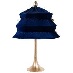 """Pagoda"" Contemporary Table Lamp, Blue China Satin Silk Satin Brass"