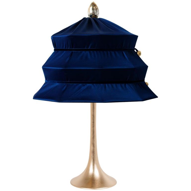 """Pagoda"" Contemporary Table Lamp, Blue China Satin Silk Satin Brass For Sale"