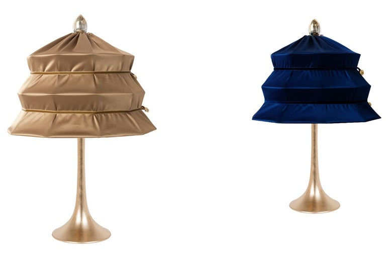 "Modern ""Pagoda"" Contemporary Table Lamp, Bronze Satin Silk Satin Brass For Sale"
