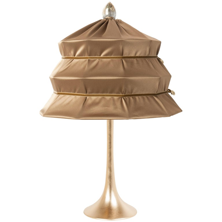 """Pagoda"" Contemporary Table Lamp, Bronze Satin Silk Satin Brass For Sale"