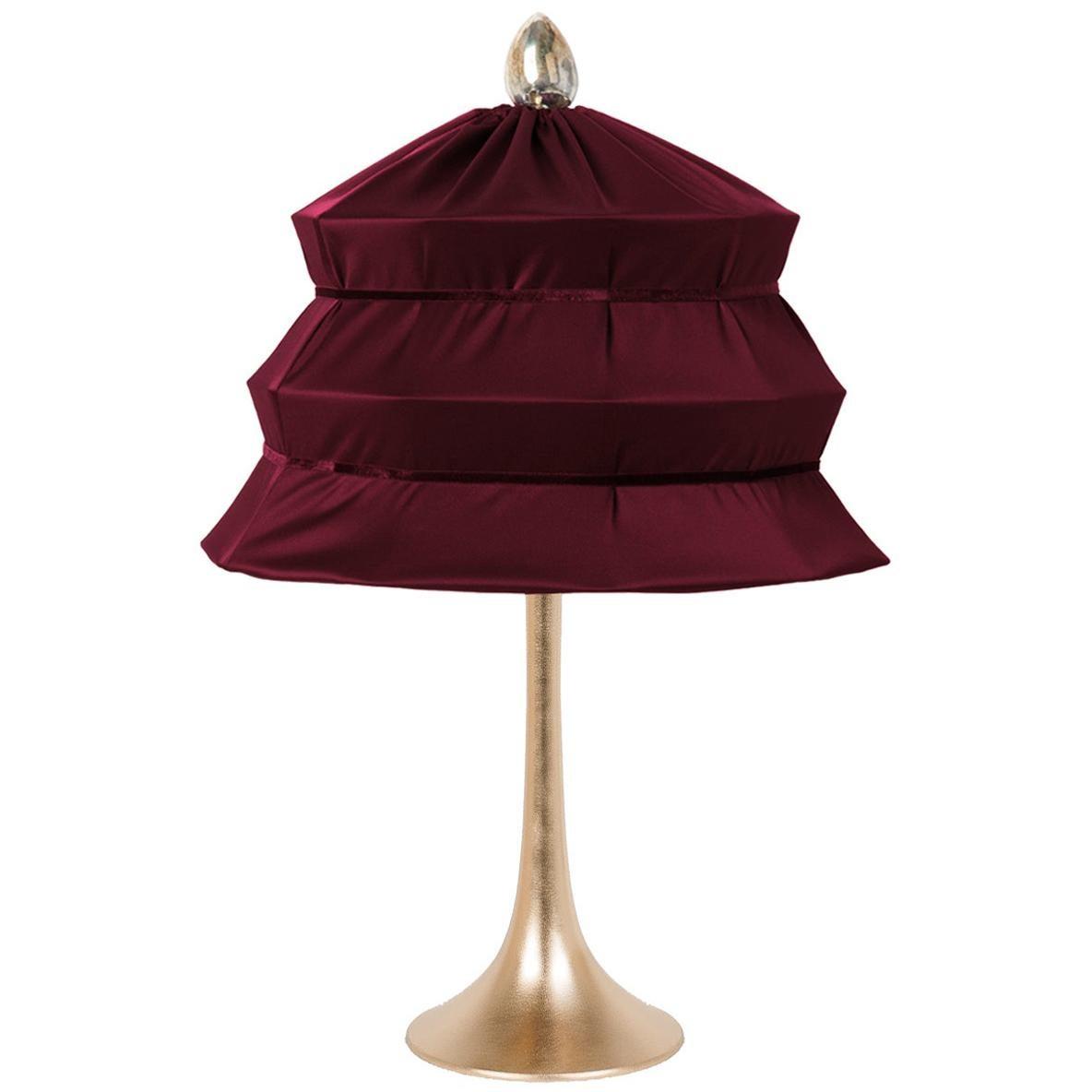 """Pagoda"" Contemporary Table Lamp, Purple Satin Silk Satin Brass"