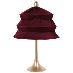 """Pagoda"" Contemporary Table Lamp, Purple Satin Silk Satin Brass"