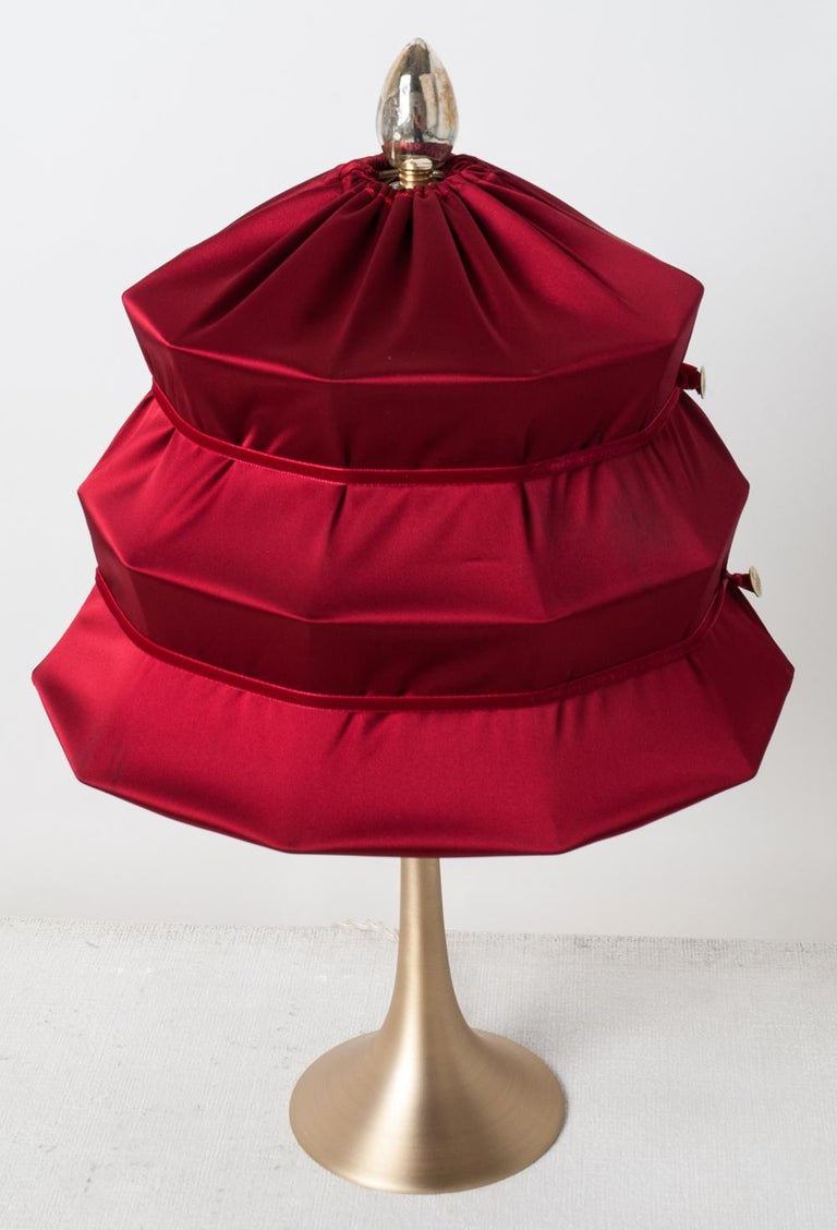 "Modern ""Pagoda"" Contemporary Table Lamp, Ruby Satin Silk Satin Brass For Sale"