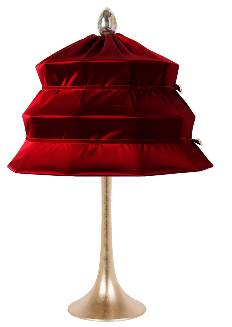"Silvered ""Pagoda"" Contemporary Table Lamp, Ruby Satin Silk Satin Brass For Sale"