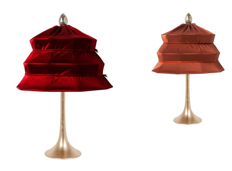 """Pagoda"" Contemporary Table Lamp, Ruby Satin Silk Satin Brass For Sale 1"