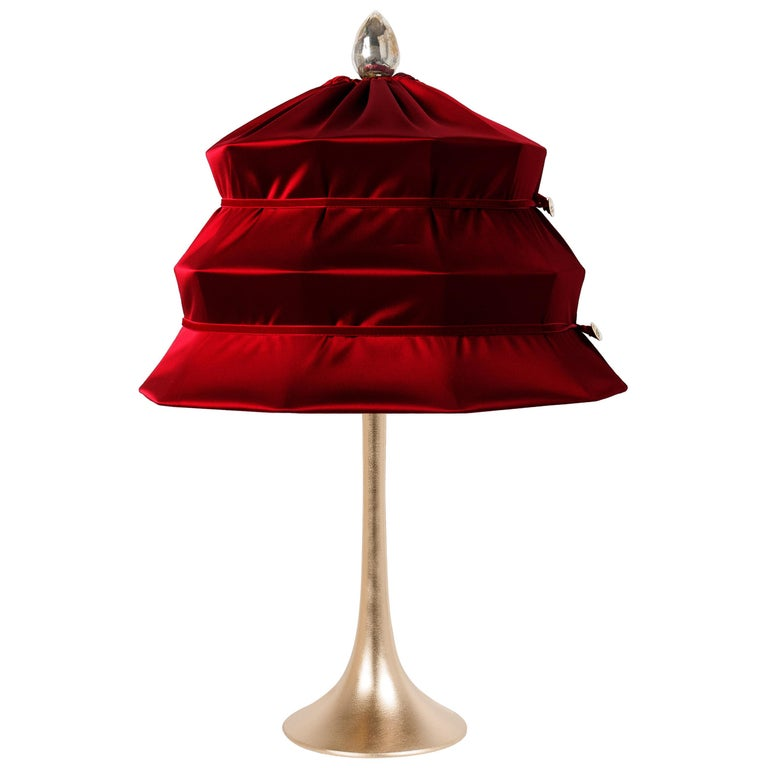 """Pagoda"" Contemporary Table Lamp, Ruby Satin Silk Satin Brass For Sale"