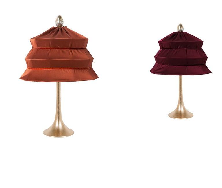 "Modern ""Pagoda"" Contemporary Table Lamp, Rust Satin Silk Satin Brass For Sale"