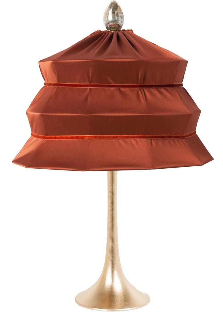 "Italian ""Pagoda"" Contemporary Table Lamp, Rust Satin Silk Satin Brass For Sale"