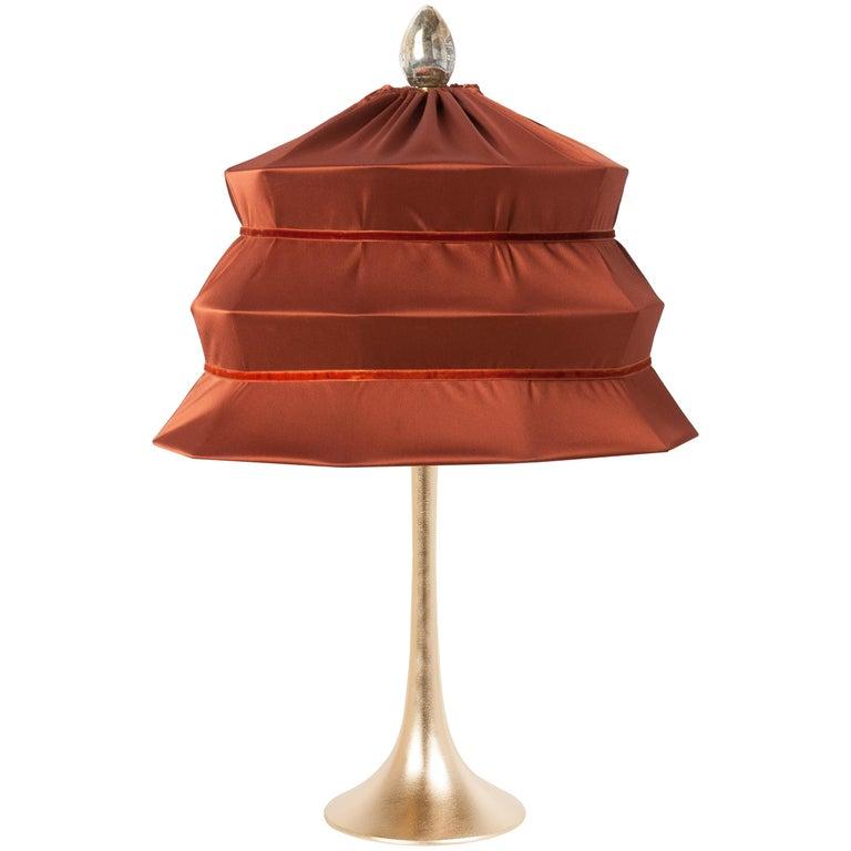"""Pagoda"" Contemporary Table Lamp, Rust Satin Silk Satin Brass For Sale"