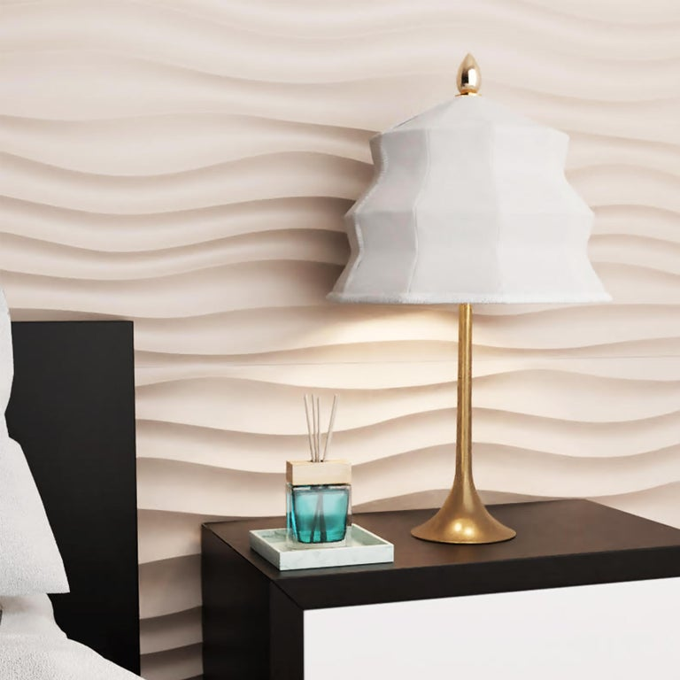 """""""Pagoda"""" contemporary Table Lamp, White Linen, Silvered Crystal Tip, brass   For Sale 7"""