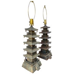 Pagoda Form Cast Iron Decorative Pieces Convert to Lamps