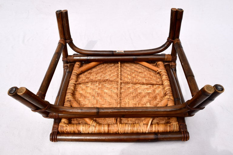 Pagoda Rattan Chairs Ottoman Set In The Manner of John Wisner Ficks Reed For Sale 3