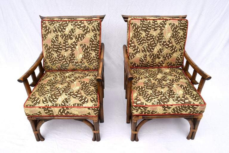 Chinoiserie Pagoda Rattan Chairs Ottoman Set In The Manner of John Wisner Ficks Reed For Sale