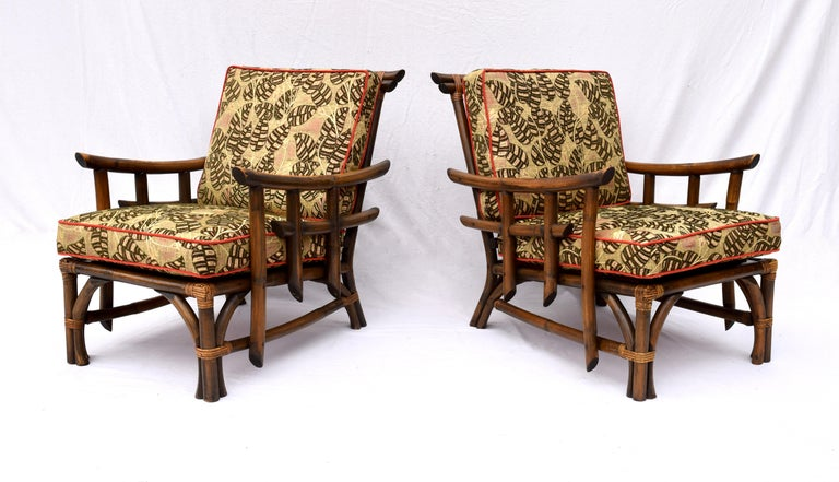 Philippine Pagoda Rattan Chairs Ottoman Set In The Manner of John Wisner Ficks Reed For Sale