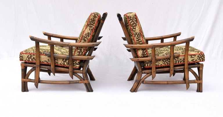 Pagoda Rattan Chairs Ottoman Set In The Manner of John Wisner Ficks Reed In Excellent Condition For Sale In Southampton, NJ