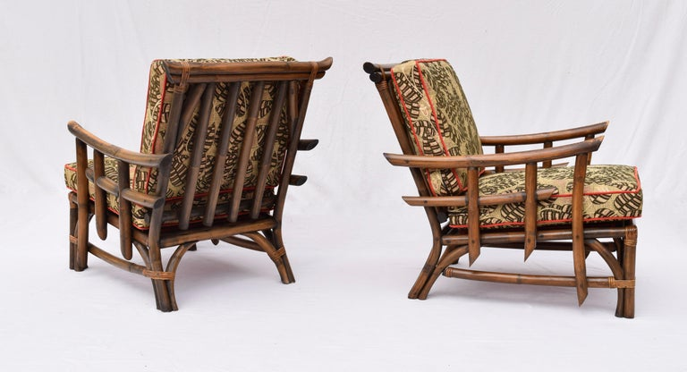 20th Century Pagoda Rattan Chairs Ottoman Set In The Manner of John Wisner Ficks Reed For Sale