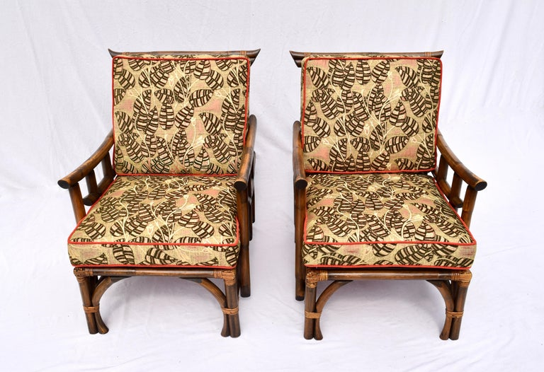 Raffia Pagoda Rattan Chairs Ottoman Set In The Manner of John Wisner Ficks Reed For Sale