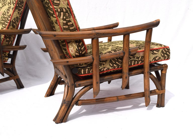 Pagoda Rattan Chairs Ottoman Set In The Manner of John Wisner Ficks Reed For Sale 1