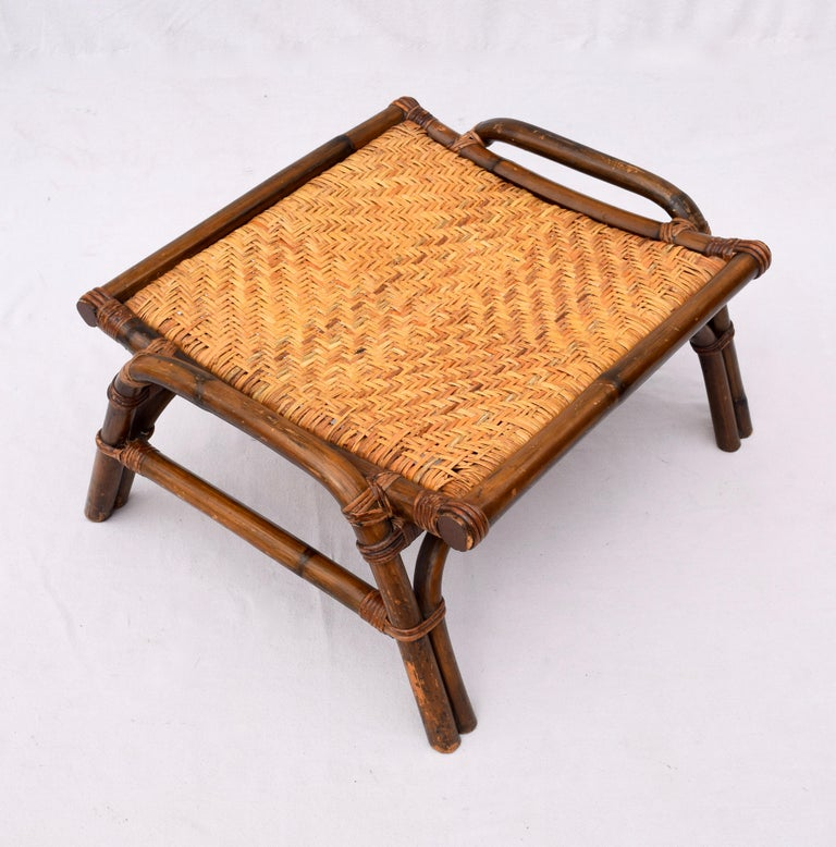 Pagoda Rattan Chairs Ottoman Set In The Manner of John Wisner Ficks Reed For Sale 2