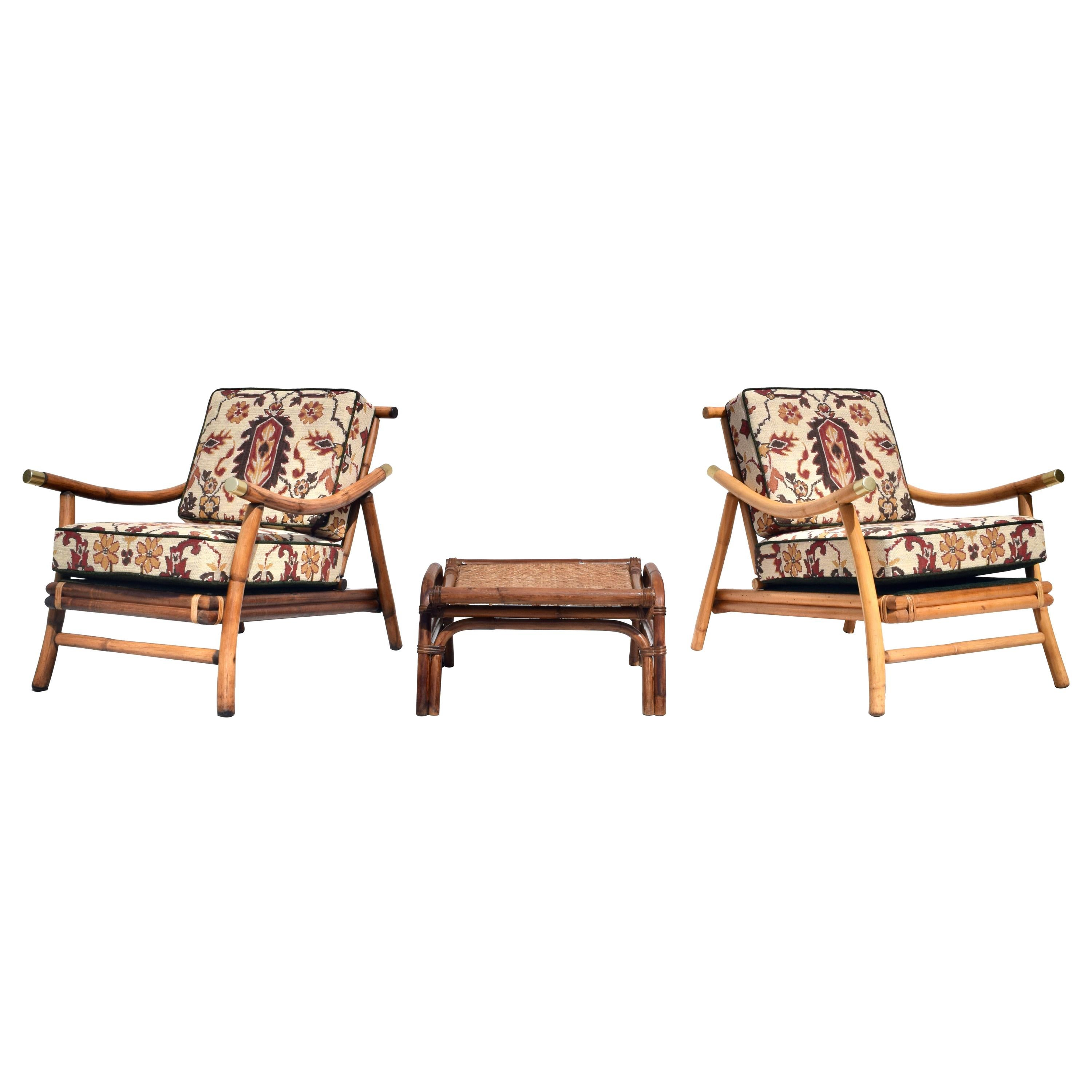Pagoda Rattan Chairs Ottoman Set in the Manner of John Wisner Ficks Reed