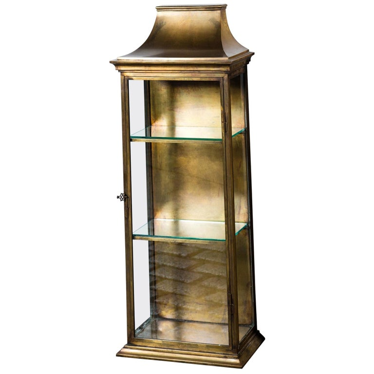 Pagoda Style Brass Vitrine For Sale